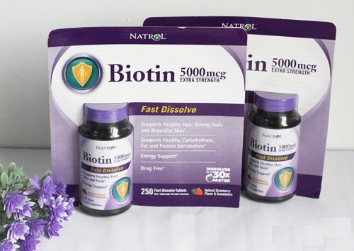 Thuốc uống mọc tóc tan nhanh Natrol Biotin Fast Dissolve 60 viên